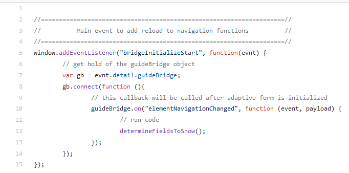 Using the AEM GuideBridge API elementNavigationChanged event screen