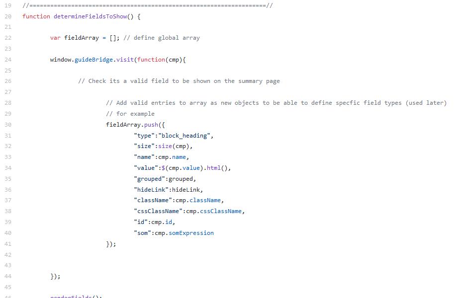 Using the AEM GuideBridge API visit function screen