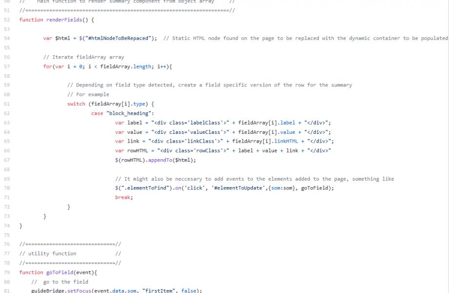 Generate field specific HTML screen