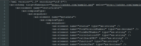 Example of an XML based schema for an AEM adaptive form