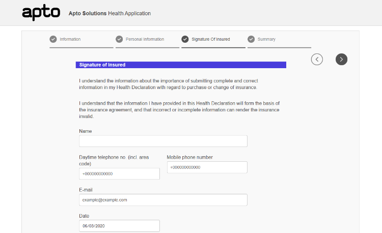 Screenshot of the Wizard style AEM adaptive form layout option
